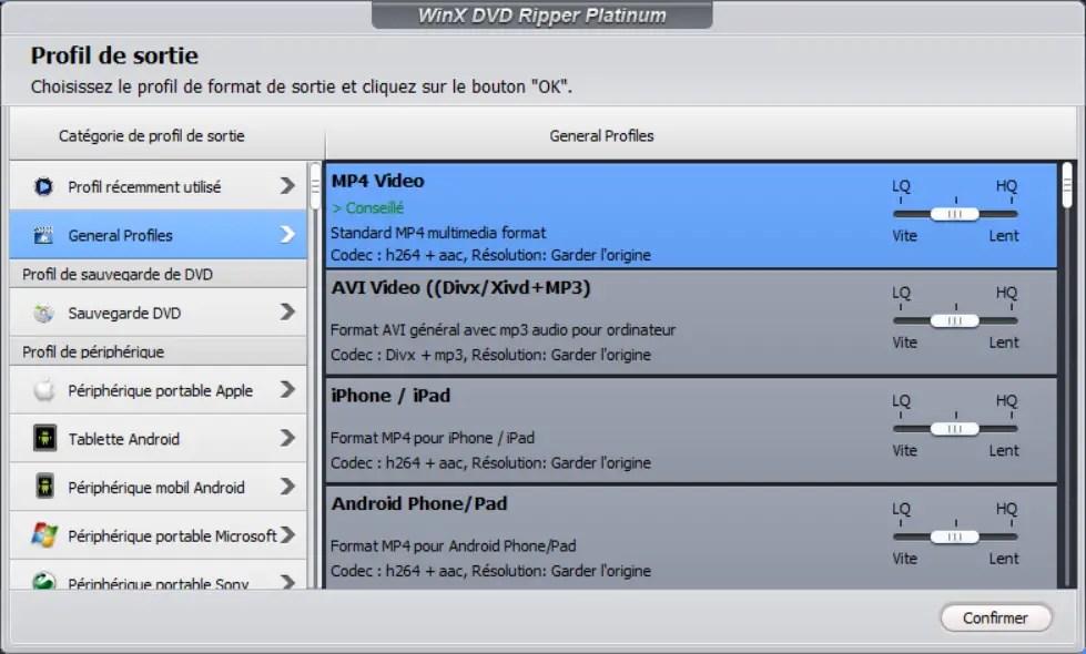 Winx Dvd Ripper Platinium 9 Choisir Format Sortie