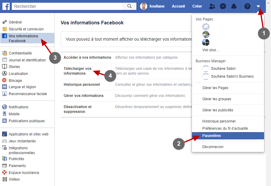 Telecharger Informations Facebook
