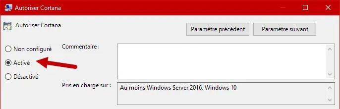 Desactiver Cortana Windows 10 5