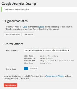 Google Analytics Dashboard WP Plugin authorization succeeded