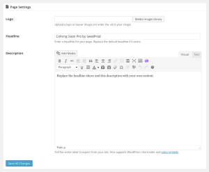 Coming Soon Pro Settings Page Settings