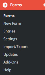Gravity Forms sidebar options