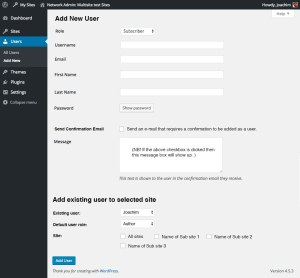 Network Add New User + add user to site