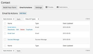 Ninja Forms Email Actions