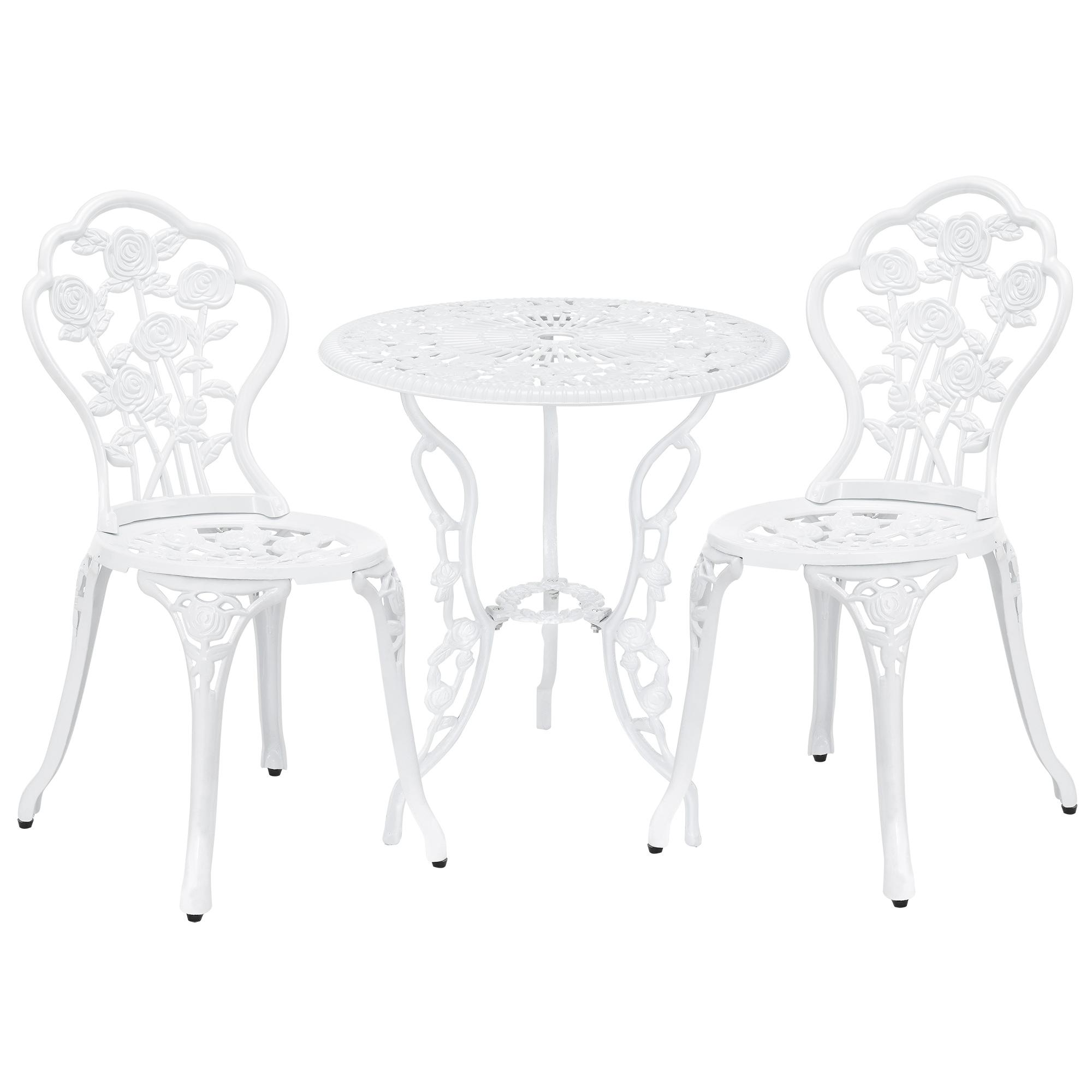 Table 2 Chairs Cast Iron Antique White Bistro Set Garden