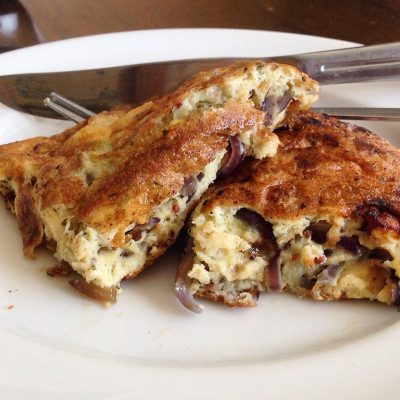 Comfort Food Brunch: Cheese and Red Onion Omelette – Gluten free, wheat free, nut free, paleo