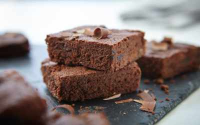 Vegan Double Choc Cherry Brownies – dairy free, egg free, nut free, using Splenda