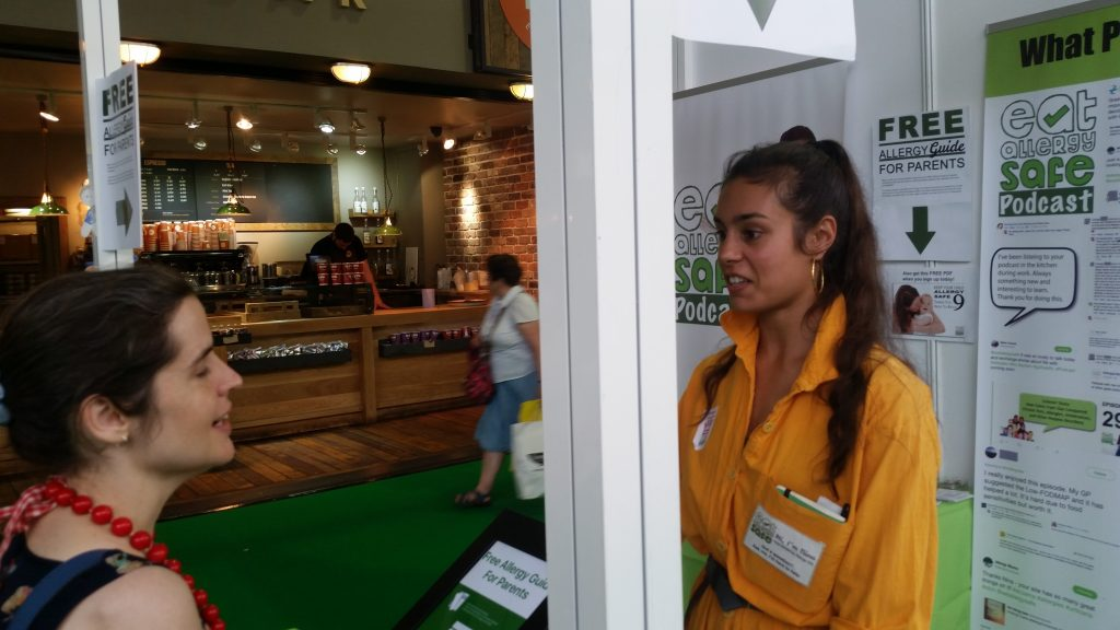 Nina Modak (Eat Allergy Safe) Talking to customer at Allergy and Free From Show London 2017