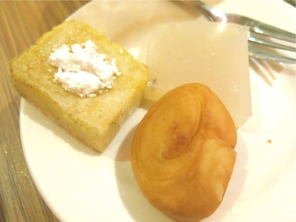 The Magic of ChongQing Hot Pot 3.	Egg Coated Glutinous Square, Fried Roll Bun, 5.	Water Chestnut Jelly