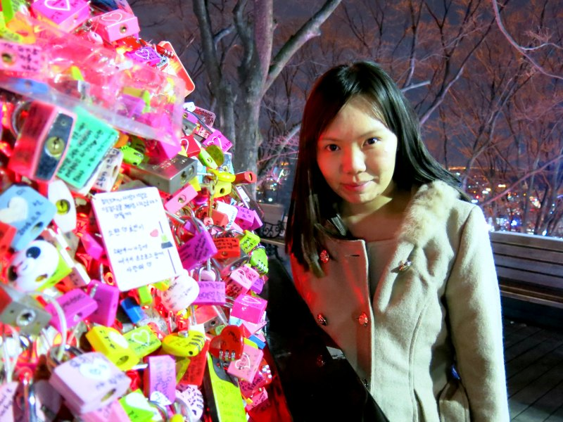 Raevian beside Love Locks at N Seoul Tower
