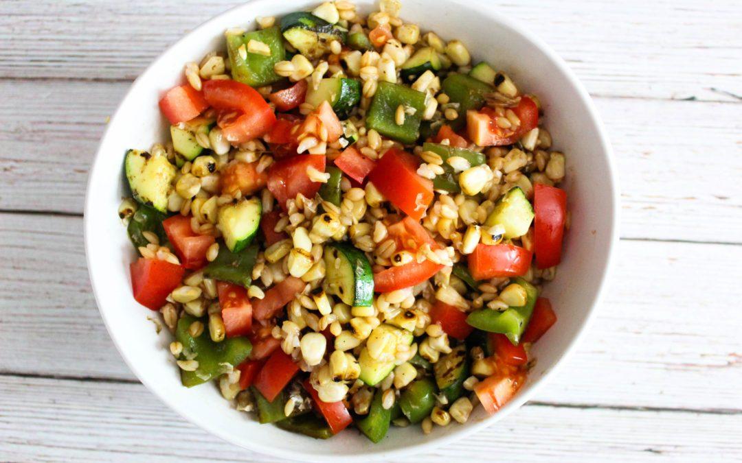 Charred Corn & Zucchini Barley Salad