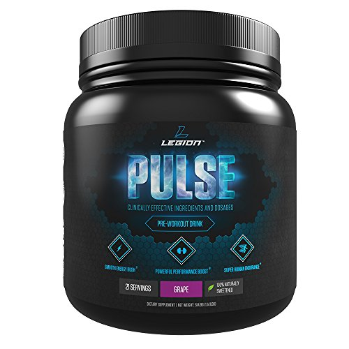 Best Pre Workout - Legion Pulse Pre Workout Supplement - All Natural Nitric Oxide Preworkout Drink to Boost Energy & Endurance. Creatine Free, Naturally Sweetened & Flavored, Safe & Healthy. Fruit Punch, 21 Servings