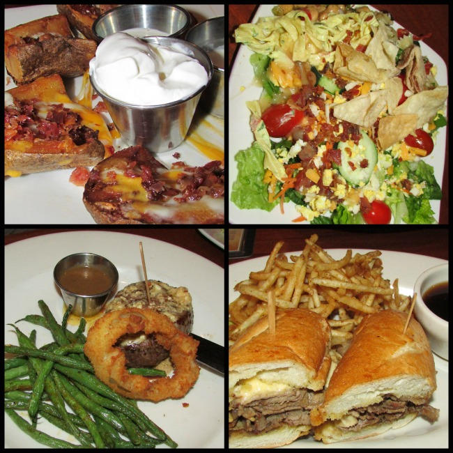 Claim Jumper Tip-a-cop appetizer, salad and main dishes