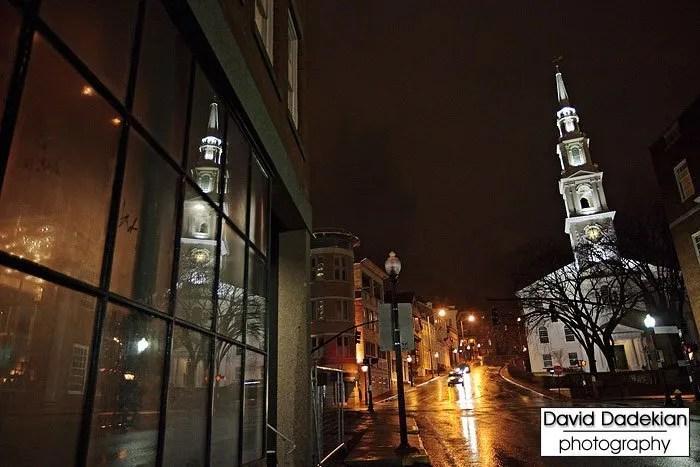 Looking up Steeple Street outside New Rivers' door