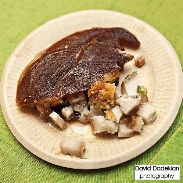 Margate's jerky alongside his excellent pork skin salad