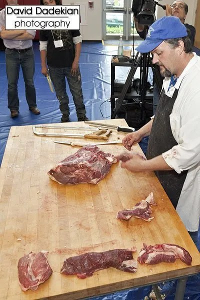 Butchery demo on side of Blackbird Farm beef by University of Kentucky Dr. Gregg Rentfrow 3