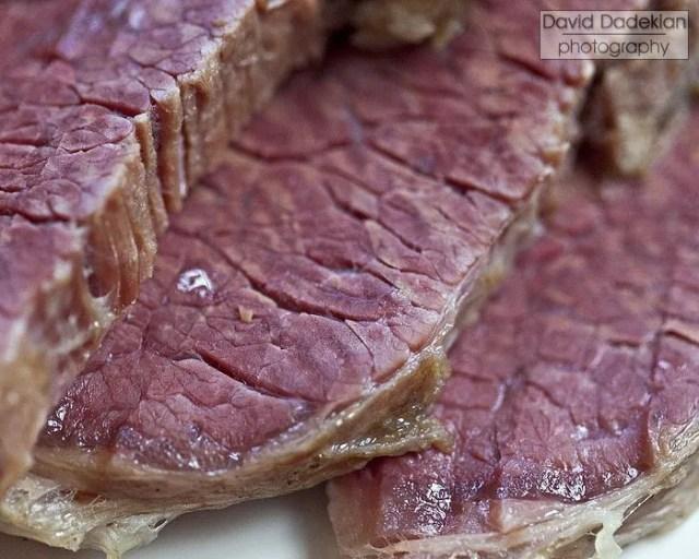 "Corned beef sliced ""against the grain"""
