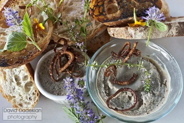Smoked Rhody bluefish pâté, grilled garlic country bread, fried shallots and Eva's Garden flowers