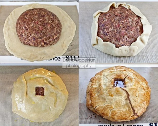 Four stages of making the pie