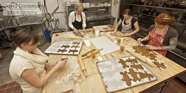 from left to right: Danielle Lowe, Pat Philbin, Melissa Denmark and Jordan Goldsmith, volunteering time to roll out and cut gingerbread men and women