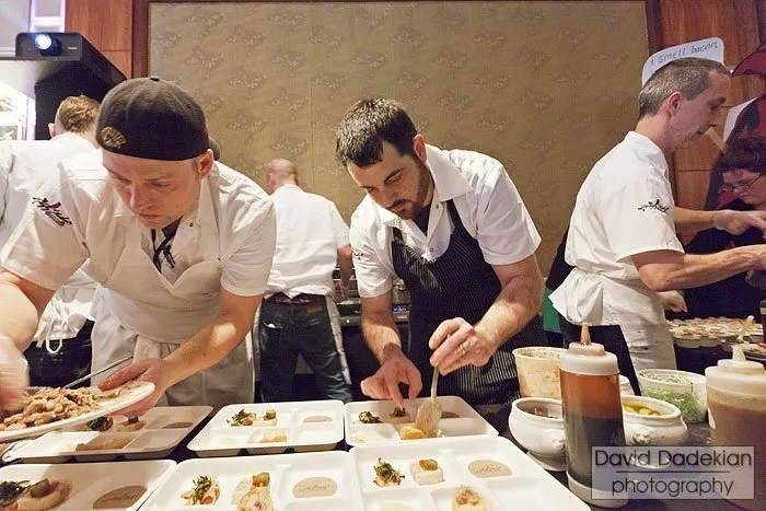 The Hungry Mother team, Chef Barry Maiden in center, preparing their platter of six dishes