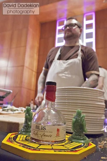 Chef Bissonnette with a magic ingredient Blis Small Batch Bourbon Barrel Aged Fish Sauce