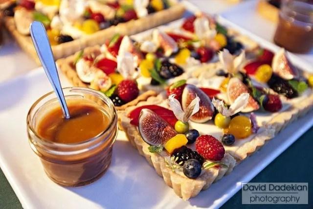 Late summer fruit tart, honeyed Cloumage, lavender caramel