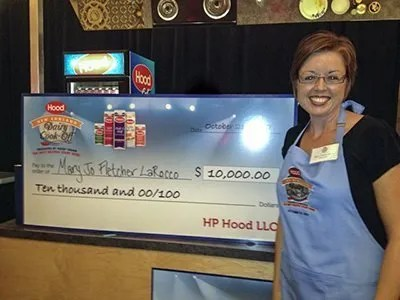 Mary Jo Fletcher LaRocco with her $10,000 Grand Prize for winning the 2012 Hood New England Dairy Cook-Off. Photo courtesy of HP Hood