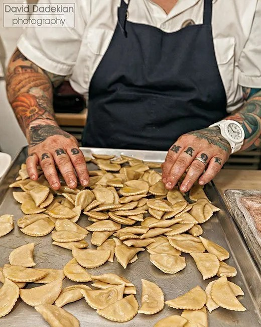Jennings readying the rye pierogi