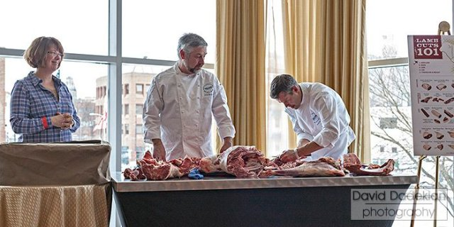 Shepherd Lisa Webster of North Star Sheep Farms with butchers Nuno Alves and Chris Douglas of Tavolo