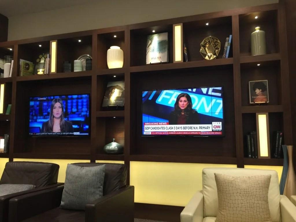 Etihad Arrivals Lounge Abu DhabiTV news lounge