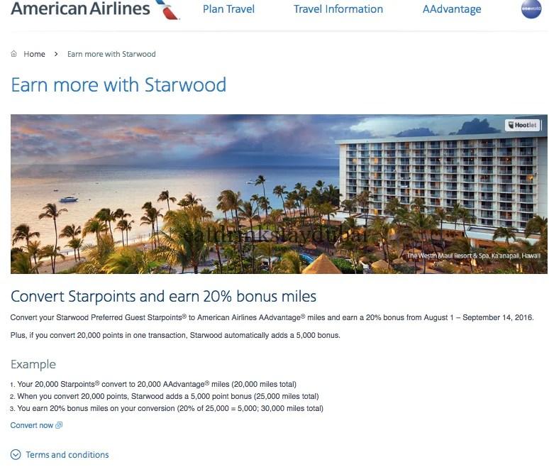 American Airlines AAdvantage SPG Transfer 20 percent Bonus