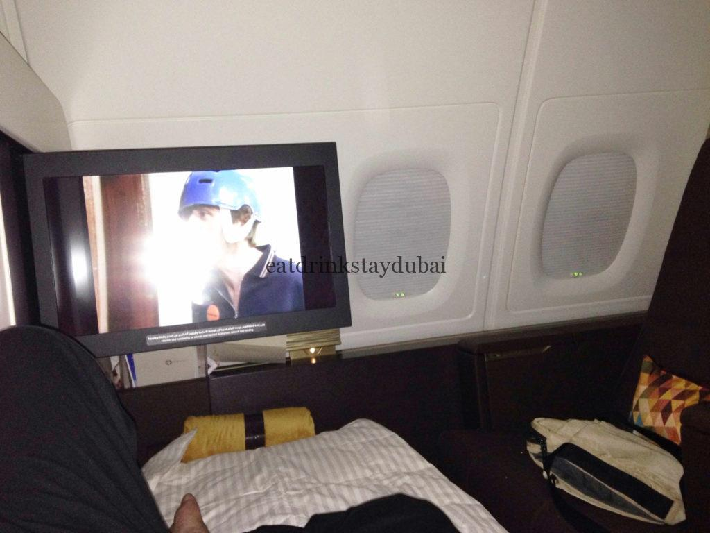 Etihad A380 First Class Apartment: Watch TV in bed
