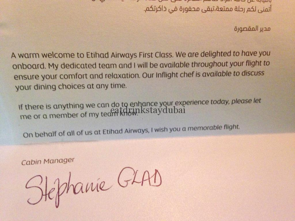 Etihad A380 First Class Apartment: Welcome note