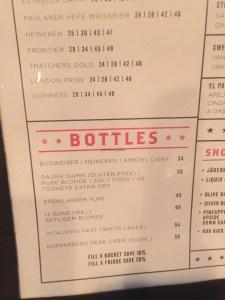 Brunswick Sports Club Bottle Menu