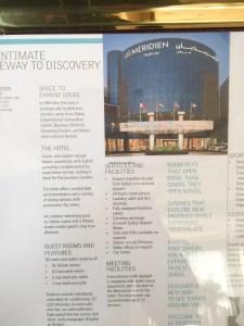 Hotel Review Le Meridien Fairway: info board 2