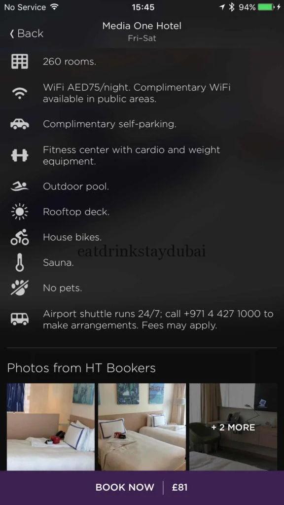 Hotel Tonight Media One hotel Dubai Facilities