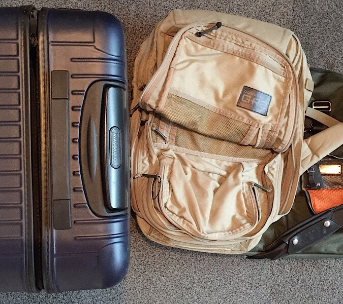 High end luggage brands - Rimowa Salsa, GoRuck GR2, Tumi Alpha Bravo
