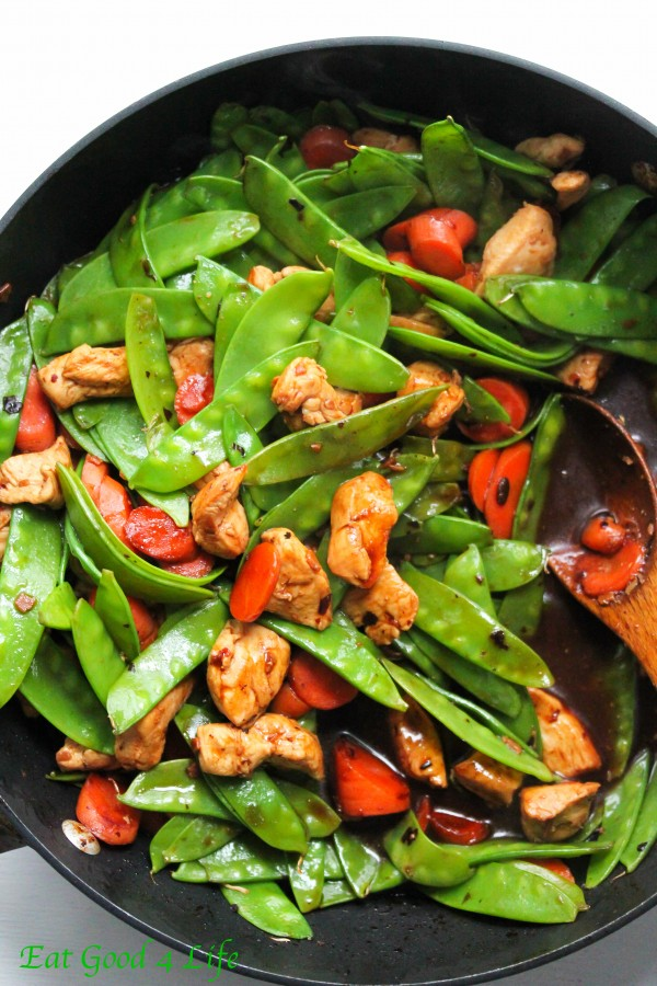 Black Bean Chicken Stir Fry With Snow Peas And Carrots