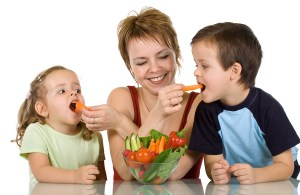 Mom Teaching Kids Eating Healthy Food Choices