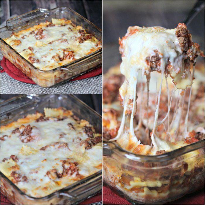 This easy lasagna recipe tastes like traditional lasagna without all the work. This is the best simple lasagna casserole recipe with mozzarella cheese, ground beef and with ravioli. This lasagna bake recipe is quick and easy with no boil needed for the noodles. You'll never make a traditional lasagna after making this lazy day recipe. #eatingonadime #lasagnarecipe #lazydayrecipes