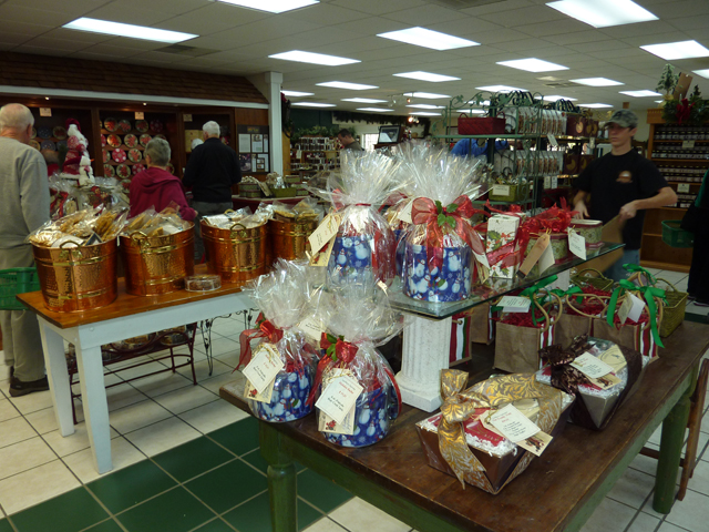 display of gift baskets