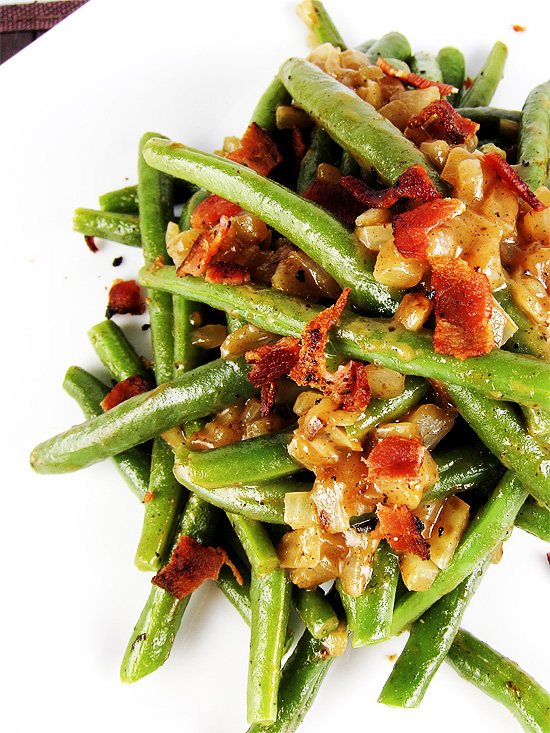 sweet and sour green beans with bacon
