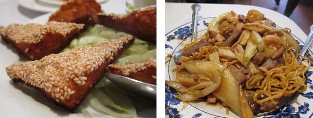 Yang Chow shrimp toast and fried noodles with beef