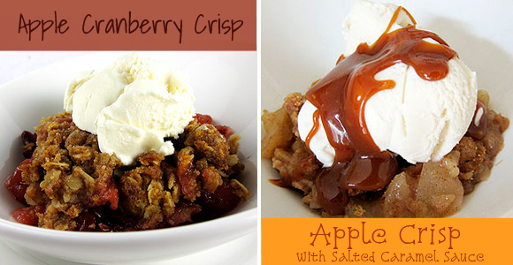 Apple Cranberry Crisp and Apple Crisp with Salted Caramel Sauce