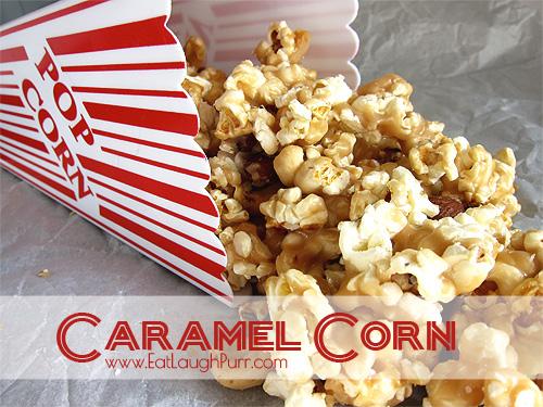 Caramel Corn. So delicious! #CaramelCorn www.EatLaughPurr.com