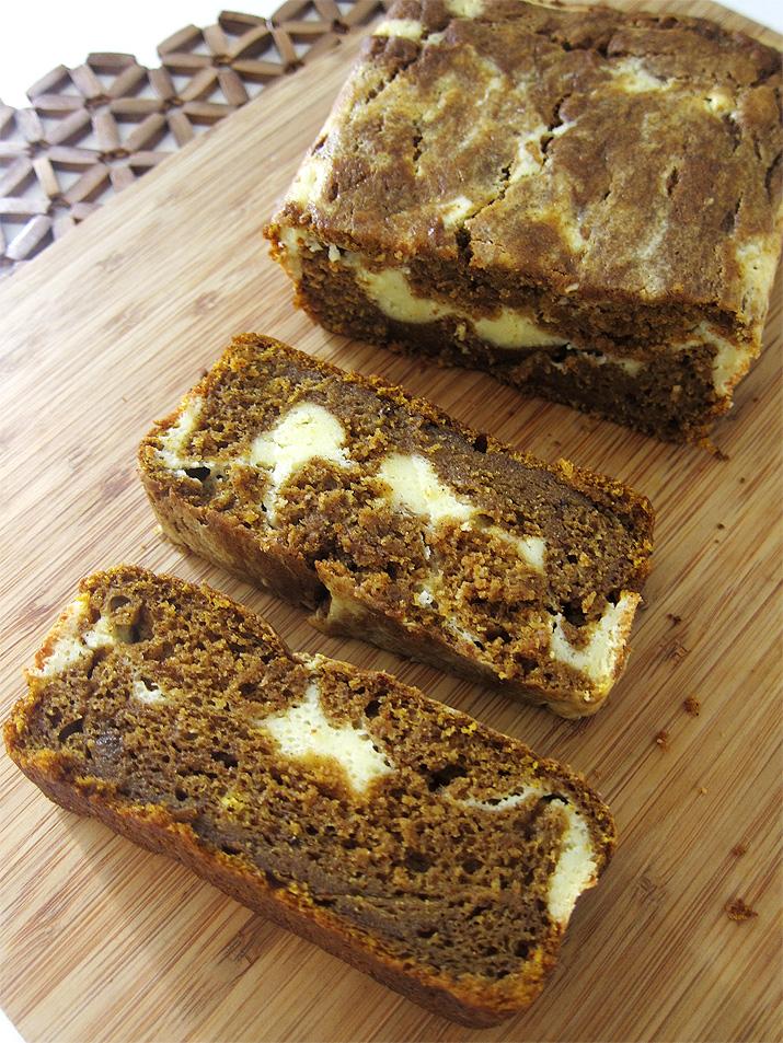 Pumpkin Bread with Cream Cheese Filling   www.EatLaughPurr.com #pumpkin #quickbread #Thanksgiving