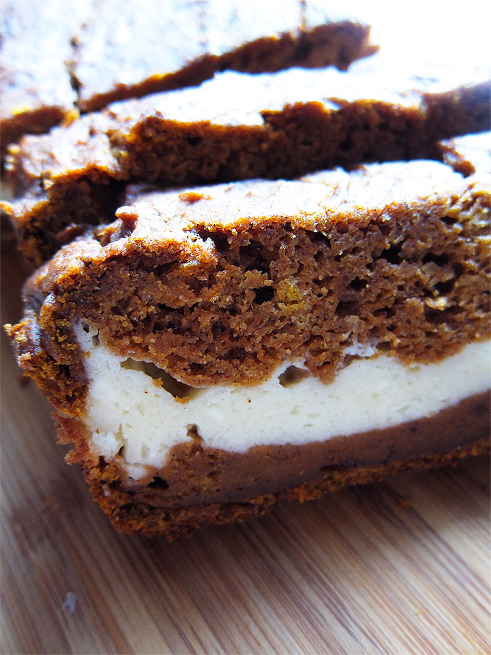 Pumpkin Bread with Cream Cheese Layer