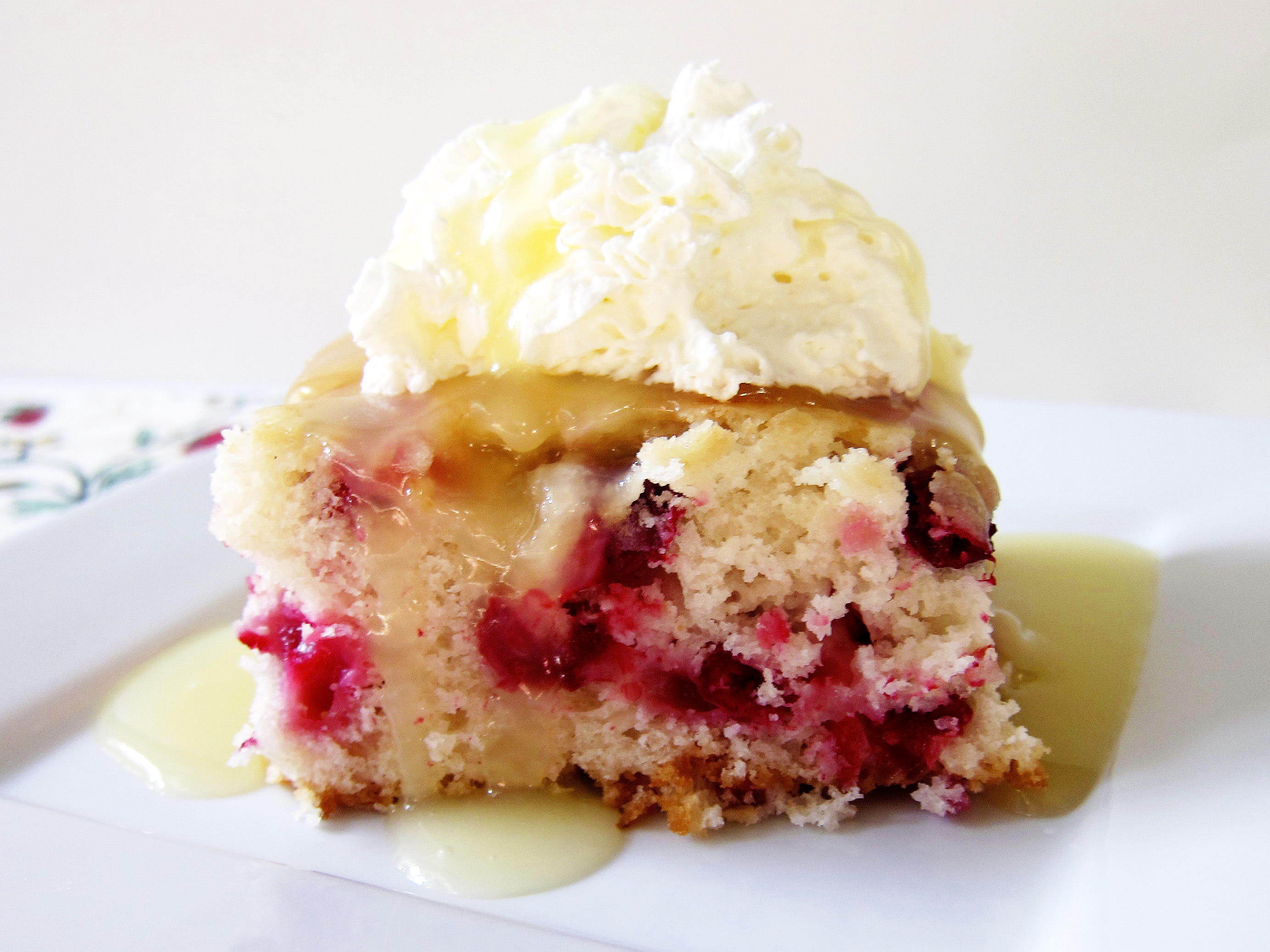 cranberry cake with butter cream sauce