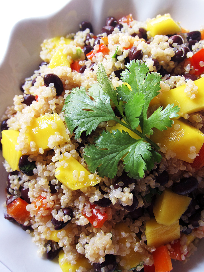This healthy Mango and Black Bean Quinoa Salad is full of good-for-you ingredients. It's super filling and pairs beautifully with any protein.
